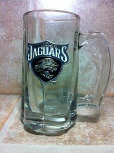 Jacksonville Jaguars Pewter / Glass Beer Mug
