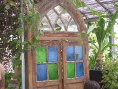 Stained glass greenhouse door