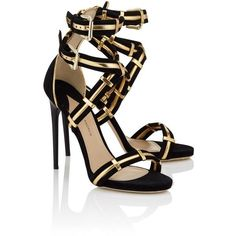 Paul Andrew Black Gold Strappy Katerini Heels ($440) ❤ liked on Polyvore featuring shoes, sandals, heels, high heels, sapatos, multi, black strap sandals, gold heel sandals, toe-strap sandals and strappy sandals