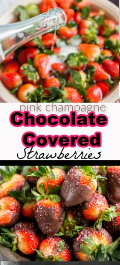 Plump strawberries are soaked in pink champagne and then dipped in dreamy chocolate. Show someone you love them by treating them to boozy chocolate covered strawberries! Dark Chocolate Cakes, I Love Chocolate, Chocolate Recipes, Chocolate Art, Fruit Recipes, Cooking Recipes, Yummy Recipes, Dessert Recipes, Italian Hot