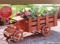 WOODEN TRUCK PLANTER GARDEN FLOWERS BORDERS AND PATIOS