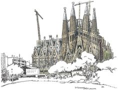 https://flic.kr/p/fveF2B | Sagrada Familia | Always wanted to sketch this building! Finally I get the chance. And it will probably look quite different next time I'm back! Gaudi's magnificent ongoing masterpiece. La Sagrada Familia, Barcelona