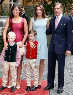 Close: Prince Louis and Princess Tessy, centre, with their sons Prince Noah, left, and Pri...
