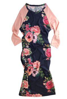 Raglan Sleeve Nursing Dress - Floral Print/Peach