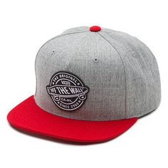 19fee0ad89e Vans Badge Snapback Hat - Heather Grey   Chili Pepper