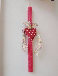 Greek Easter candle with red heart plush red by ArktosCollectibles, $19.04