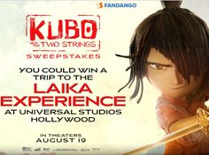 Enter The Fandango Kubo and the Two Strings FanAlert Sweepstakes for a chance to win a 3-day/2-night trip for two to Los Angeles, CA!