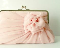 Rose on pretty little purse in pale pink...so delicate-looking!...