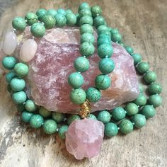 A personal favorite from my Etsy shop https://www.etsy.com/ca/listing/472469092/green-turquoise-and-rose-quartz-hand