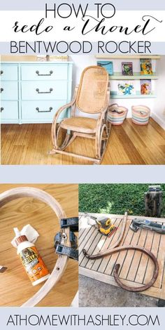 Thonet Bentwood Rocking Chair. Ideas for how to do a diy makeover on this wooden vintage rocker. I have the kids size. Plus the history of the thonet no.21 rocker.  I love the boho style!
