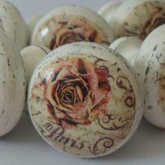 parisian rose painted wooden knob by surface candy | notonthehighstreet.com