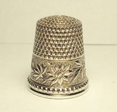 Perfect 1890's Sterling Silver KMD Thimble with Damask Flowered Designed Band | eBay
