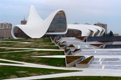 The Heydar Aliyev Center is a square foot building complex in Baku, designed by Iraqi-British architect Zaha Hadid. Cultural Architecture, Futuristic Architecture, Classical Architecture, Amazing Architecture, Architecture Details, Landscape Architecture, Islamic Architecture, Architectes Zaha Hadid, Zaha Hadid Architektur