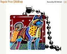 50% Off- Akita Dog Folk Art Jewelry - Pendant Glass Gift Art Heather Galler Gift - Pet Lovers Modern Abstract Memorial Gift