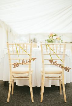 His and hers arrows for the back of the sweetheart table chairs