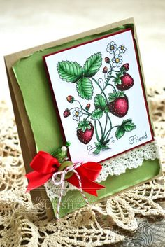 Card featuring Flourishes Strawberries stamp set, Copic colouring