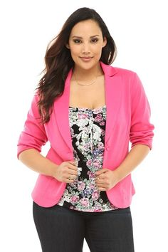Designed in a rosy shade of pink, this blazer makes a bold fashion statement. We love the feminine details: figure-flattering princess seams and a single covered button closure. Perfect for work or play.