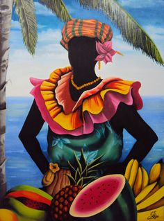Palenquera sin rostro Técnica: Óleo sobre lienzo Dimensiones: 1,20 m. x 0.84 m. Black Girl Art, Black Art, Art Girl, African American Art, Native American Art, African Art Paintings, Haitian Art, Black Roots, Caribbean Art