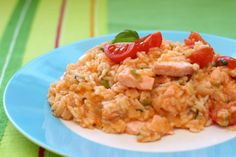 Roast smoked salmon and spring vegetable risotto
