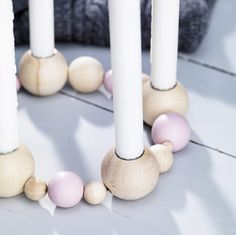 Transform wooden balls into a candlestick
