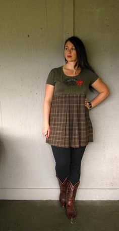 Eco upcycled clothing Romantic plaid dress by lillienoradrygoods, $57.50