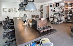 Diane Keaton flips this Pacific Palisades, Los Angeles house into an industrial-style home and it's on the market. Small Office Design, Office Interior Design, Office Interiors, Office Designs, Diane Keaton, Corporate Office Decor, Home Office Decor, Industrial House, Industrial Style