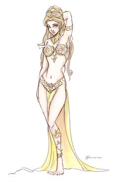Slave Leia Belle Design Sketch by ~NoFlutter on deviantART