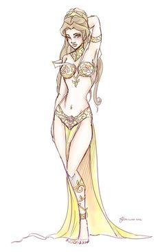Slave Leia Belle Design Sketch by ~NoFlutter on deviantART