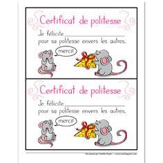 Certificat de politesse Amélie Pepin