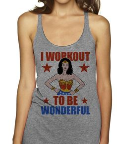 You're not training to just be fit, youre at the gym because you want to be wonderful. Show some comic love at the gym with this Wonder Woman workout tank top.