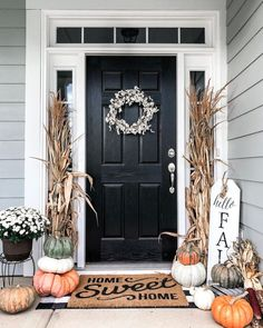 Decorating Porch for Fall Outdoor . Decorating Porch for Fall Outdoor . Fall Decorated Front Porch Inspiration Outdoordecor In 2019 Fall Home Decor, Autumn Home, Front Porch Fall Decor, Fall Front Door Decorations, Fall Front Porches, Outdoor Fall Decorations, Fall Front Doors, Modern Fall Decor, Fall Decorating Ideas For The Porch Front Doors