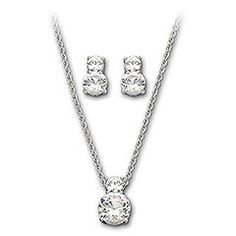 In this set there is a gorgeous pendant with two brilliant-cut clear crystals that play with light in amazing ways. The matching set of pierced earrings also flaunt 2 brilliant-cut clear crystals.