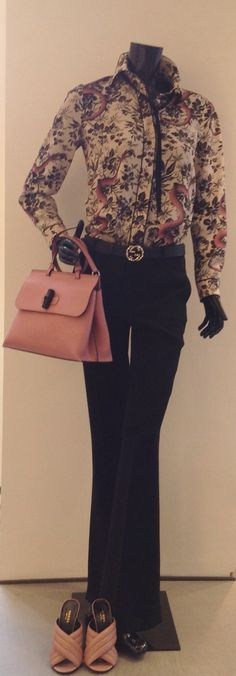 Gucci look: shirt, shoulder bag, belt and shoes by Gucci at #ilduomonovara