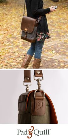 A stunning cascading leather flap made from full-grain American bridle leather with a tough-as-nails twill woven waxed canvas body, rugged aged nickel hardware, and parachute-grade nylon stitching make our incredible Field Bag