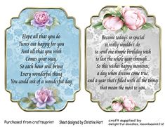 Delicate Floral Inserts 5 on Craftsuprint designed by Christine Hart - 2 pretty inserts with verses for cards and beautiful floral detail this…