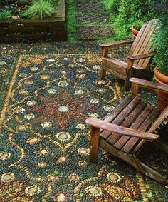 An outdoor rug made of river rock . . .