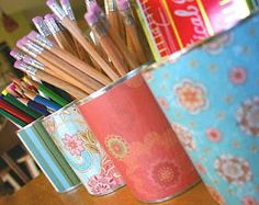 awesome idea...mod podge cans to hold pencils etc.