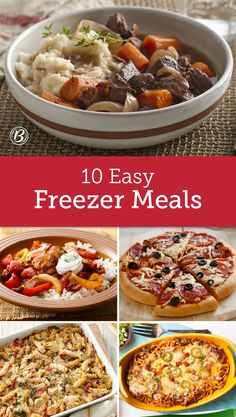With a little advance planning and prep, these freezer-friendly meals make dinner as easy as popping a dish in the oven. Hearty casseroles, pizzas, potpies and enchiladas can all be made ahead for timesaving meals that still taste absolutely amazing. Freezer Friendly Meals, Easy Freezer Meals, Make Ahead Meals, Freezer Cooking, Freezer Recipes, Freezable Meals, Crockpot Recipes, Cooking Recipes, Drink Recipes