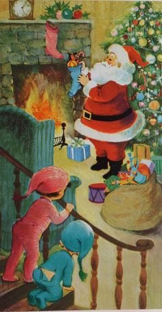 """Waiting up for Santa. """"He's here! He's here!"""""""