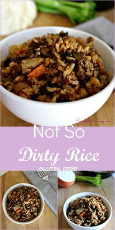 A healthy twist on a Cajun classic. Not so dirty rice is loaded with vegetables, chicken and Cajun spices. Healthy Prawn Recipes, Healthy Food List, Healthy Eating For Kids, Heart Healthy Recipes, Healthy Side Dishes, Side Dish Recipes, Healthy Cooking, Delicious Recipes, Gluten Free Recipes