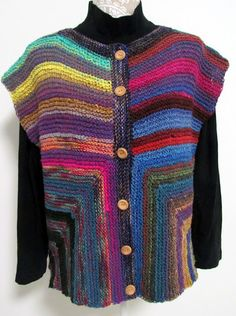 Cardivest #2           My second iteration of the Cardivest is a yarn lover's (me!) dream.  I used the following yarns:  Noro Taiyo,  40% Co...