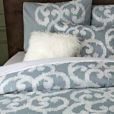 Organic Ikat Scroll Duvet Cover + Shams #WestElm