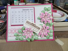Handmade refrigerator mini-calendar decorated with Heartfelt Creations sun kissed fleur and leaves dies and stamps.