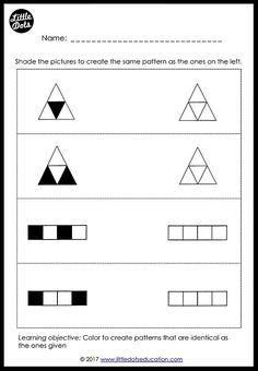 Preschool Patterns Matching Worksheets and Activities Printable Preschool Worksheets, Free Kindergarten Worksheets, Worksheets For Kids, Free Printables, Preschool Writing, Free Preschool, Coding For Kids, Math For Kids, Teaching Patterns