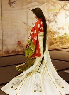 The beauty of the Japanese Heian period. This is a Jūnihitoe, antique kimono, the so called twelve-layer robe from the Heian era, Japan.