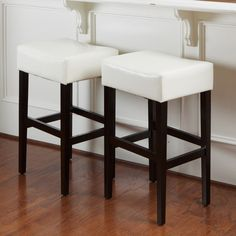 Classic Backless Leather Bar Stool (Set of 2) Color: Ivory