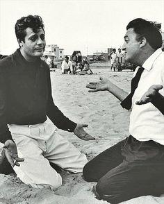 Mastroianni and Fellini ham it up while making La Dolce Vita (1960)