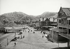 "Avalon Bay, California, circa 1910. ""Crescent Avenue. Metropole and Bay View hotels, Catalina Island."" 5x7 glass negative, Detroit Publishing."