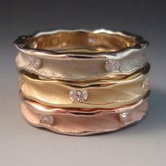 Round Stacking Rings 14k white gold, 18k yellow gold, 14k rose gold, diamonds - Ann Marie Cianciolo