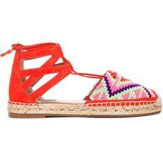 Aquazzura Belgravia Suede Espadrilles (515 CAD) ❤ liked on Polyvore featuring shoes, sandals, flats, crochet flats, platform shoes, flats sandals, lace up flats and platform flats